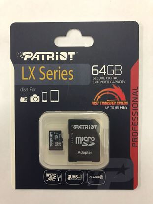 Picture of MICRO SD 64GB PATRIOT CLASS 10 LX SERIES W/ADAPTER